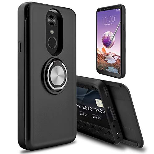 LG Stylo 4 Case, LG Stylo 4 Plus Case, lovpec [Cards Slot] Ring Magnetic Holder Kickstand Girls Women Shockproof Protective Phone Case Cover for LG Q Stylo/Stylus 4 / Stylo 4+ / Q Stylo + (Black)