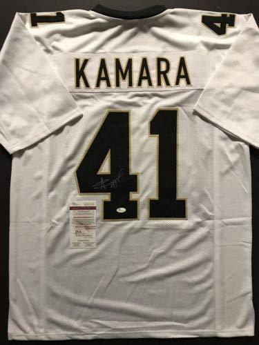Autographed/Signed Alvin Kamara New Orleans White Football Jersey JSA COA
