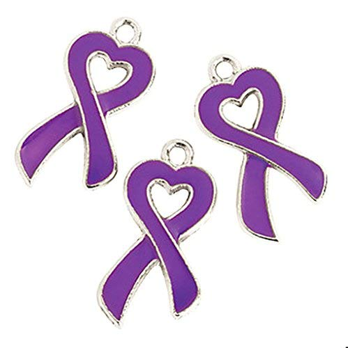 Purple Ribbon Awareness Cancer Heart Charms Lot of 12 (Purple) -