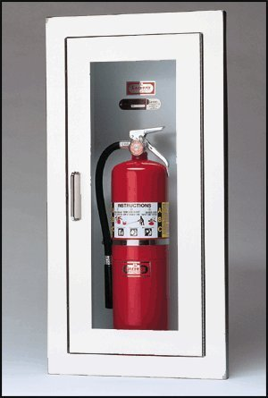 Larsens 2409 R4 Semi Recessed Fire Extinguisher Cabinet White Baked Enamel Pictures Gallery