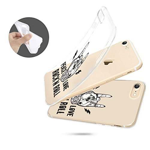 finoo   Iphone 7 Plus Weiche flexible Silikon-Handy-Hülle   Transparente TPU Cover Schale mit Motiv   Tasche Case Etui mit Ultra Slim Rundum-schutz   Rockn Roll