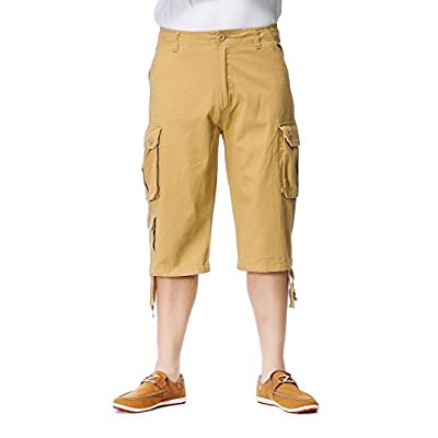 New Olasante Men's Casual Premium Cotton Twill Knee-Length Cargo Shorts Pants With Pockets free shipping