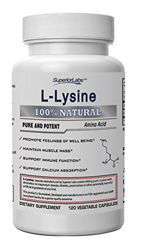 - Superior Labs - Best L-Lysine NonGMO - Dietary Supplement -500 mg Pure Active L-Lysine - 120 Vegetable Capsules - Supports Calcium Absorption - Immune System & Respiratory Health Support