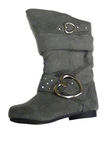 Canyon River Blues Toddler Girls Gray Suede Look Fashion Boots with Hearts 7T