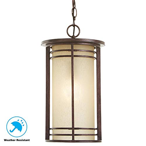 Home Decorators Collection 1-Light Bronze Outdoor Pendant with Amber Glass