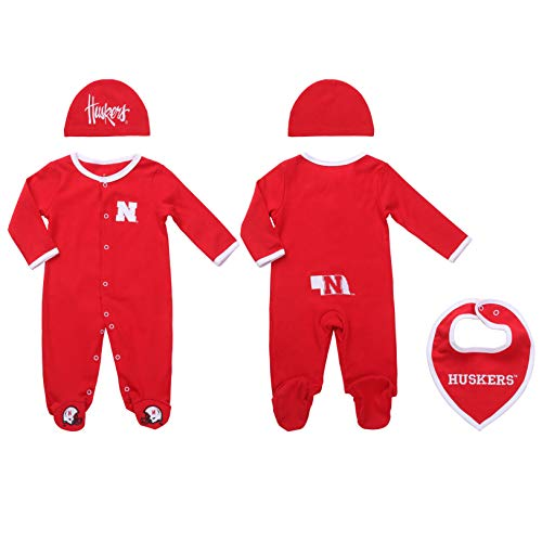 Fast Asleep Nebraska Univrsity Baby Boy (3 pc), Footie, Bib and Hat Set (0-3) Red