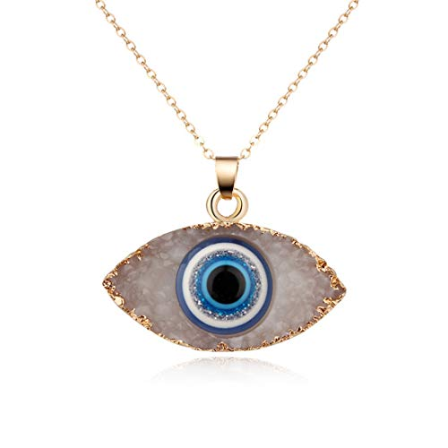 HUNO Classic Turkish Evil Eye Necklace Imitated Druzy Pendant Gold Plated Faith Protection Lucky Jewelry for Women and Girls Party Special Days-White Eye