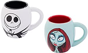 The Nightmare Before Christmas Jack and Sally 18 oz. Oval Ceramic Mug Set