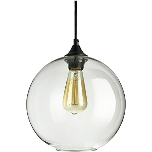 Sunlite AQF/CG/PD/S Glass Sphere Collection Pendant Vintage Antique Style Fixture, Clear Glass (Collection Sunlites)