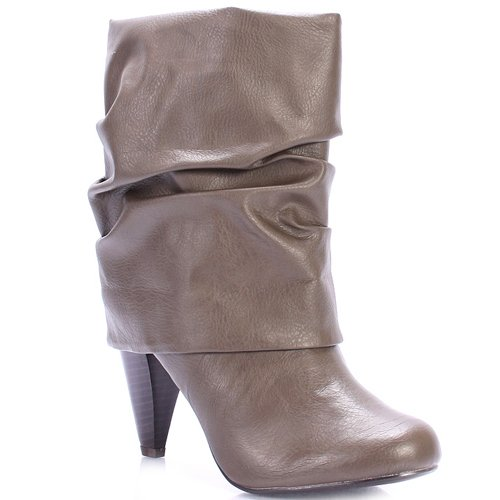 (Qupid Women's Plaza Cuffed Mid Calf Boots (6.5, Taupe))