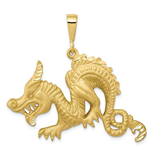 10k Yellow Gold Dragon Pendant Charm Necklace Skull Dagger Fine Jewelry Gifts For Women For -