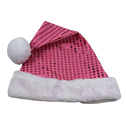 Merry Brite Pink Sequin Santa Hat