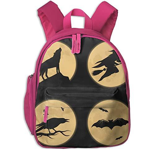 Halloween Characters Moonlight Double Zipper Waterproof Children Schoolbag With Front Pockets For Teens Boy Girls ()