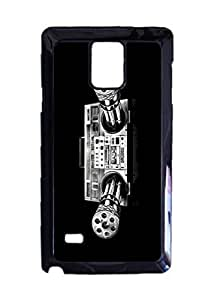 Machine gun boombox Custom Image Case, Diy Durable Hard Case Cover for Samsung Galaxy Note 4 , High Quality Plastic Case By Argelis-Sky, Black Case New