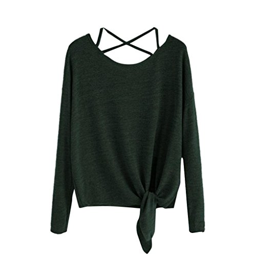 Clearance! Seaintheson 2018 New Fashion Women Daily Casual Long Sleeve Crow Tied Up Soild Fasion Tops Blouse T-Shirt - Soild Perfume