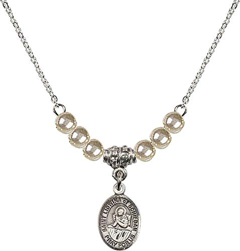 Bonyak Jewelry 18 Inch Rhodium Plated Necklace w/ 4mm Faux-Pearl Beads and Saint Lidwina of Schiedam Charm ()