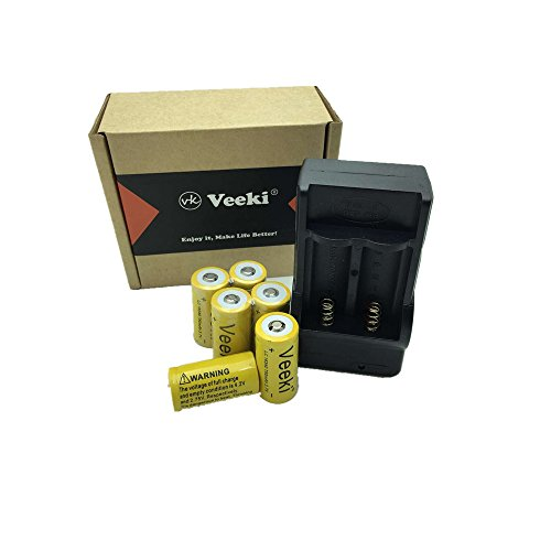 Veeki 6x 750mah 3.7v Cr123a 16340 Li-ion Rechargeable Battery +Charger -Perfect Power For Flashlight, Photo Camera