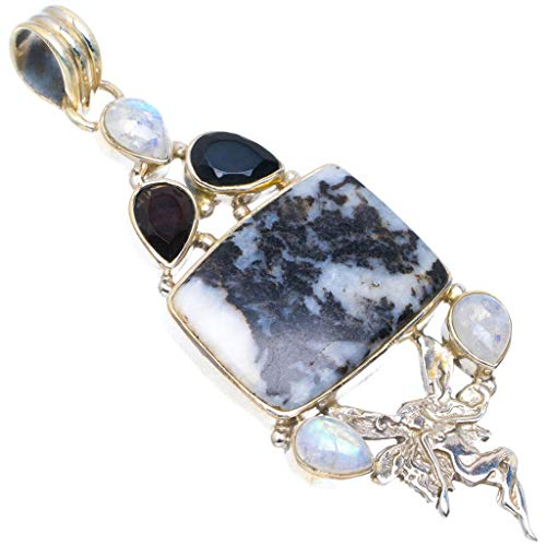 Natural Dendritic Agate, Onyx and Moonstone Unique Design 925 Sterling Silver Pendant 2 3/4
