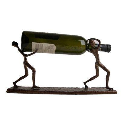 Danya B. ZI7237 Decorative Single Bottle Metal Wine Holder - Iron Sculpture of Two Men Carrying a Bottle