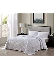 Beatrice Home Fashions Wedding Ring Chenille Bedspread, Queen, White