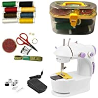 FAB Innovations Presents 10 in 1 Mini Electric Sewing Machine (with Sewing Kit, Foot Pedal, Adapter, Threads and Bobbins)