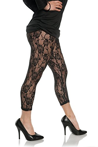 Joan Jett Costumes (Women's Retro 80's Lace Leggings - Black, Large)
