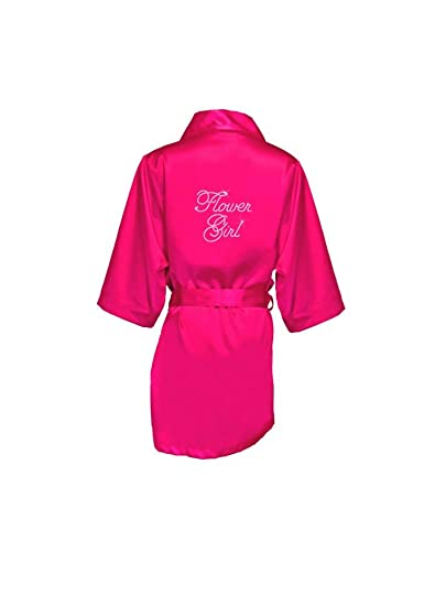 volume large no sale tax sale uk Amazon.com: Rhinestone Flower Girl Satin Robe Style FGROBE ...