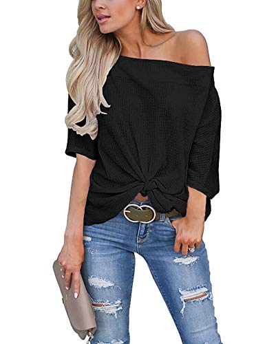 LACOZY Women's Casual Waffle Knit Off The Shoulder Tops Side Twist Knot Batwing Shirt Tunic Blouse Black 2X-Large(19/20)
