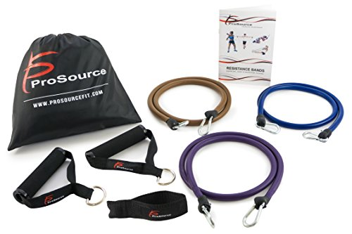 Ripcord Weight System - ProSource XTREME Premium Heavy Duty Double Dipped Latex Stackable Resistance Bands Set with Extra Large Handles, Door Anchor, Carrying Case, and Exercise Chart