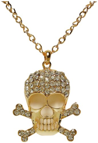 - Necklace - Large Gold Tone Rhinestone Encrusted Skull and Crossbones - Rickis Grand Crystal Skull
