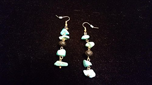 Turquoise and Blackstone Nugget Earrings