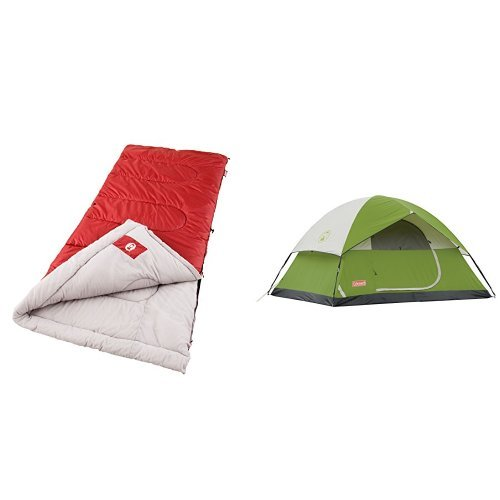 Coleman Palmetto Cool-Weather Sleeping Bag and Coleman Sundome 4-Person Tent Bundle
