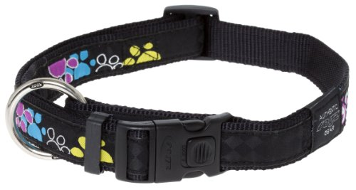 Rogz Fancy Dress Extra Large 1-Inch Armed Response Dog Collar, Paint Paw Design