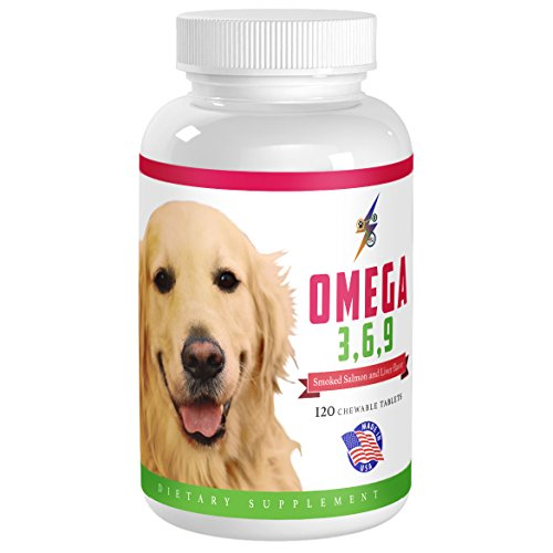 Best Omega 3 6 9 Fish Oil for Dogs - Helps with Itchy Skin, Coat, Joints, Heart and Brain - Fatty Acids Dog Supplements - Boost Immune System - 120 Chewable Tablets (Salmon Flavor) (Tablets Dog 120)