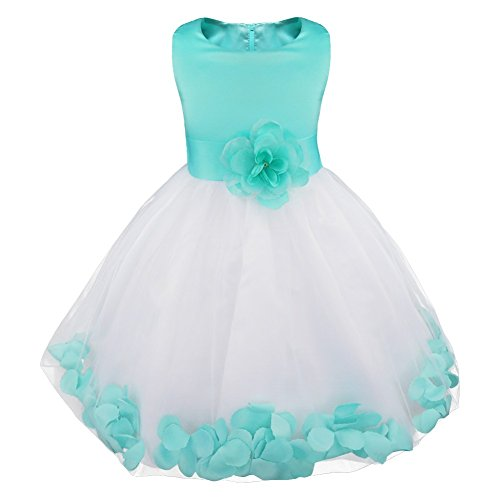 iiniim Girls Petals Tulle Princess Wedding Pageant Party Flower Girl Dress Turquoise Petals Size 4