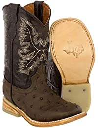 Kid's Toddler Brown Ostrich Print Cowboy Boots Square Toe