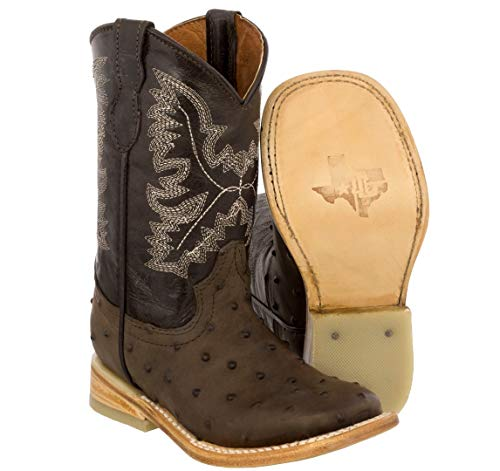 Veretta Boots - Kid's Toddler Brown Ostrich Print Cowboy Boots Square Toe 2 Youth