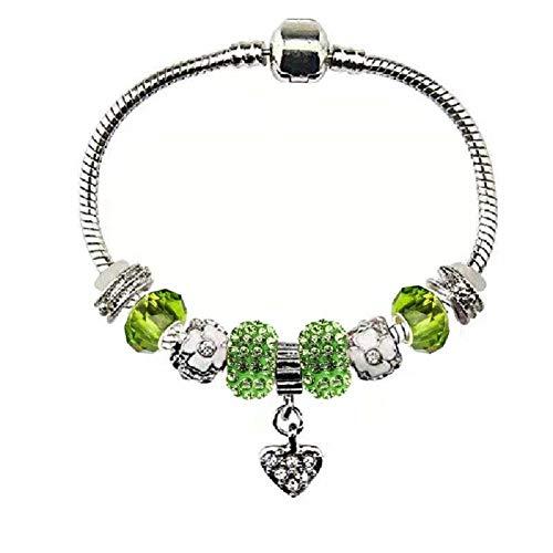 Charm Bracelet for Women 8.5 inch Lime Green Large Size DIY -