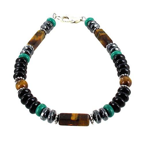 Black Onyx, Hematite (Hemalyke), Turquoise, Tiger Eye & Sterling Silver Mens Bracelet - 8