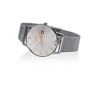 Watchmaker Milano – Reloj de Pulsera para Hombre, Estilo Vintage, de Cuarzo, con Correa de Acero Inoxidable