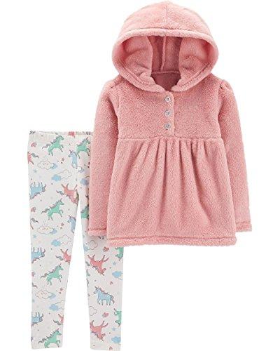 Carter's Girls' 2-Piece Polar Bear Fleece Hoodie and Legging Set (Pink/Unicorns, 5T)
