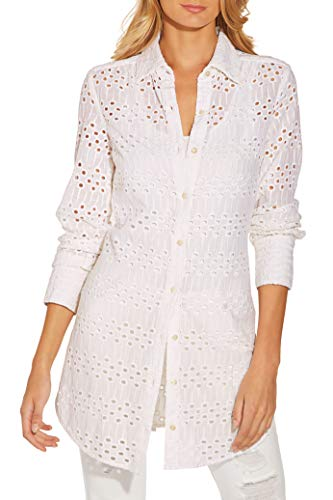 Boston Proper Women's Eyelet Button-Up Long-Sleeve Woven Tunic Shirt White Medium