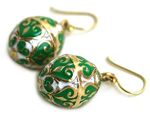 LynnAround Bronze Multicolor Enameled Egg, Easter Egg, Russian Eggs, Dangle Earrings Fish Hook Thailand Made Jewelry (Green-White)