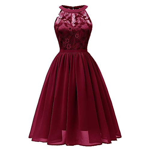 DEATU Princess Lace Dress Women Vintage Floral Cute Lace Cocktail Neckline Ladies Party Aline Swing Sleeveless Dress(B-Wine,M) -