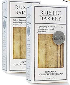 Rustic Bakery Gourmet Handmade Flatbread Olive Oil & Sel Gris 6 oz. (2 pack) (Rustic Bakery Cookies)