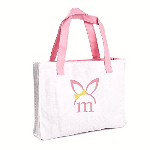 Cathy's Concepts Girls Easter Bunny Canvas Tote Bag, Monogrammed Letter M