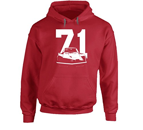 CarGeekTees.com 1971 Corvette Stingray Grill View with Year Heavy Duty Red Hoodie M Red