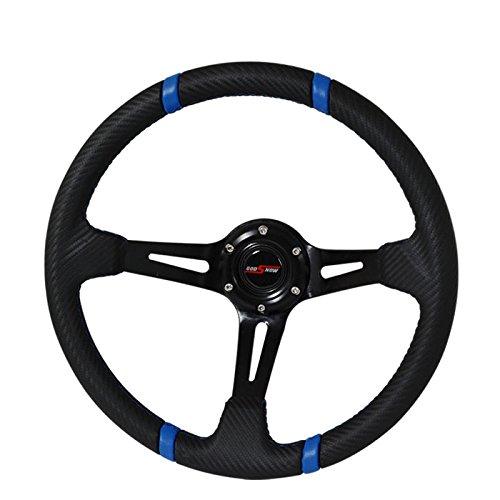 350mm Deep Dish Steering Wheel 6 Bolt Universal Custom (Black Blue/ Carbon Finish) -