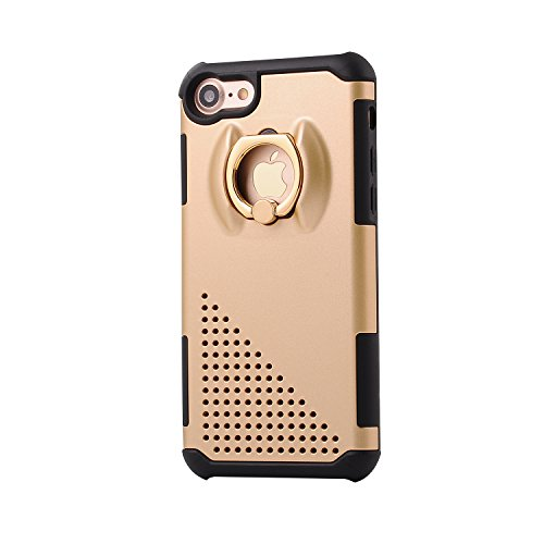 iPhone 7 Case, Firefish Dual Layer Shockproof Foldable Ring Kickstand Anti-Skid Drop Bumper Cover Protective Case for Apple iPhone 7 2016 -Golden