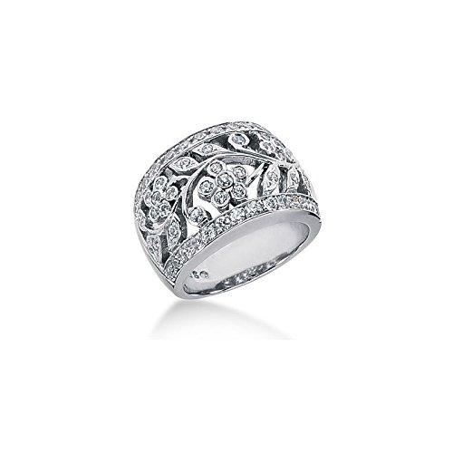 18K Floral Vine Design, Round Brilliant Diamonds (0.75ctw.) - Size 8.25